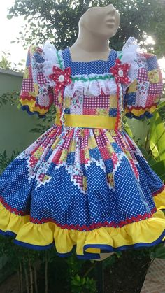 Vestido Junino Menina Raquel,  na Liluart Roupas Infantis  Whatsapp 61 9 99762373