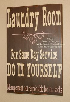 Laundry Sign, Laundry Room Decor, Laundry Sign, Distressed Wood Signs, Wood Signage, Distressed Wall Decor - Do it yourself Larger Size