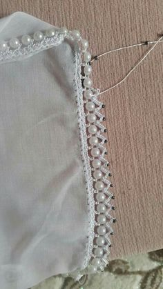 Sequined Pearl Crochet Lace Making - Tatting Ideen 2019 Crochet Lace Edging, Crochet Borders, Crochet Flower Patterns, Tatting Patterns, Bead Crochet, Crochet Designs, Crochet Flowers, Crochet Stitches, Crochet Trim