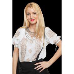 Ie Trifoi mânecă scurtă -  Bej Short Sleeves, Ruffle Blouse, Beige, Lace, Modern, Shopping, Clothes, Beauty, Color