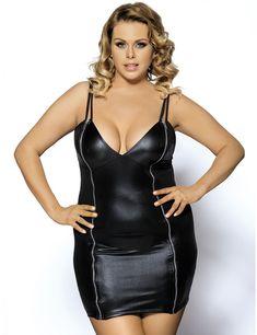 674c87b441 Plus size leather dress