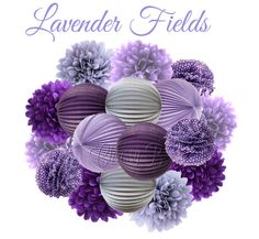 LAVENDER FIELDS Deluxe Party Decorations - Accordion Lantern & Tissue Pom Kit - Plum, Purple, Lavender, Striped - Birthday Party,Baby Shower