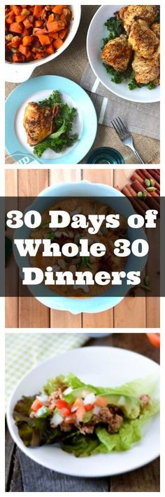30 Days Whole 30 Dinners from http://meatified.com NOTE: Ditch the sweetener in the Thai Beef Salad.