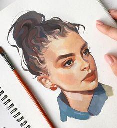 Art Inspo, Guache, Wow Art, Gouache Painting, Portrait Illustration, Art Drawings Sketches, Vaporwave, Portrait Art, Aesthetic Art
