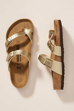 Birkenstock Mayari Sandals by in Gold Size: at Anthropologie Grunge Style, Soft Grunge, Birkenstock Sandals Mayari, Birkenstock Outfit, Tokyo Street Fashion, Vans Authentic, Grunge Outfits, Dr. Martens, Gold Birkenstocks