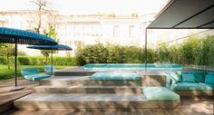 Mogambo - Paola Lenti Garden Pool, Terrace Garden, Paola Lenti, Outdoor Sun Shade, Luxury Decor, Tour Eiffel, Outdoor Furniture, Outdoor Decor, Land Scape
