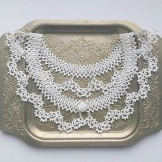 Tatting collar in vintage style #collar #tatting #tattinglace #vintage #lace #фриволите #necklaces #lacenecklace