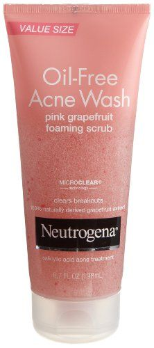 Neutrogena Oil-Free Acne Wash Scrub, Pink Grapefruit, Value Size, 6.7 Ounce I LOVE this stuff makes my face feel so clean :]