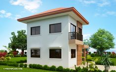 This contemporary classic adaptation on the design is surely inviting. This is another model where elements of design such as symmetry and proportion were 2 Story House Design, Small House Design, Bed Design, 1 Bedroom House, Modern Bungalow House, Two Storey House, Ground Floor Plan, Built In Cabinets, Elements Of Design