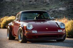 This Customized Singer Porsche 911 in Oxblood Porsche Autos, Porsche Sports Car, Porsche 911 Targa, Porsche Cars, Singer Porsche, Porsche Classic, Classic Cars, Ferdinand Porsche, Kit Cars