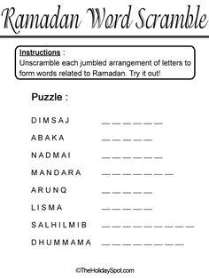 Ramadan Word Sramble template