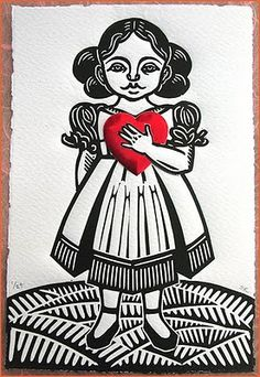 Little girl in B&W --holding a little red heart  by Sonia