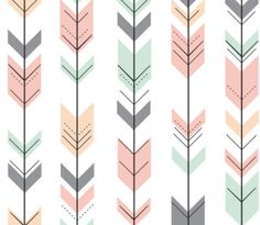"Crib Skirt Arrows Coral Mint Gray and then also order two custom 20x20"" pillows for the bed"