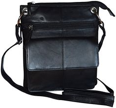 Fashion Womens Genuine Leather Crossbody Bag With Multiple Pockets Black >>> You can get more details by clicking on the image.Note:It is affiliate link to Amazon.