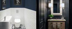 tile bathroom Top 60 Best Half Bath Ideas Unique Bathroom Designs Awesome Half Tiled Bathroom Wall I Half Bathroom Decor, Bathroom Design Small, Bathroom Designs, Bathroom Ideas, Decorating Bathrooms, Bathroom Wall, Basement Bathroom, Small Half Bathrooms, Guest Bathrooms