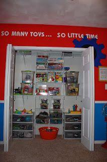 Organized toy room closet