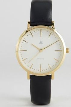 ASOS Clean Dial Black & Gold Leather Watch - Black https://modasto.com/kadin-aksesuar-taki-saat/ct34 #saat
