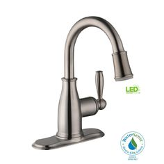 Glacier Bay Mandouri Single Hole Single-Handle LED High-Arc Bathroom Faucet in Brushed Nickel - The Home Depot