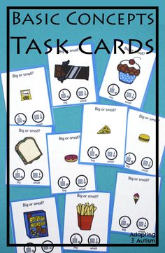 """These task cards are perfect to practice basic concepts in special education classrooms or speech therapy. These """"any time"""" activities are also great independent work tasks in autism classrooms!"""