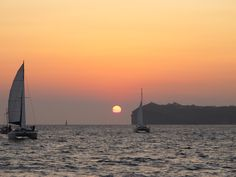 private or semi-private sunset cruise in Santorini Time Travel, Places To Travel, Sailing Catamaran, Travel Memories, Blue Lagoon, Beautiful Scenery, Vacation Ideas, Santorini, Life Is Good