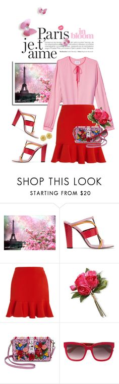 """""""Paris in Bloom"""" by shortyluv718 ❤ liked on Polyvore featuring WALL, Oscar de la Renta, SemSem, National Tree Company, Dolce&Gabbana, Gucci, Vintage, birthday, mules and pinkandred"""