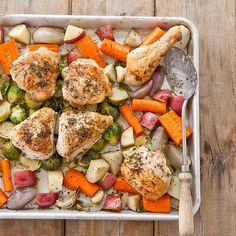 Juicy roast chicken and tender root vegetables complement each other on the plate. But could they work together in the oven?