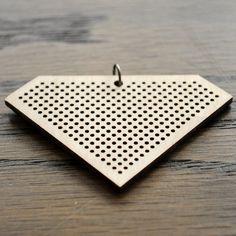 Image of Wooden Cross Stitch Pendant : Diamond