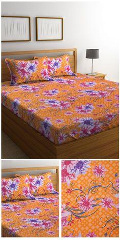 Mafatlal Orange Cotton 110 TC Double Bed Sheet with 2 Pillow Covers #doublebedsheets #orangeedsheets #pillowcovers #homefurnishing #homedecor #cottonbedsheets #mafatlal