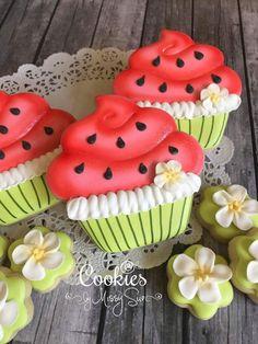 Watermelon Cupcake Cookies