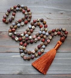 Jasper Mala Bead Necklace from Mud and Lotus Malas. Perfect for your yoga or meditation practice! Beaded Tassel Necklace, Boho Necklace, Beaded Jewelry, Necklaces, Bracelets, Yoga Gifts, Yoga Jewelry, Gifts For Women, Tassels