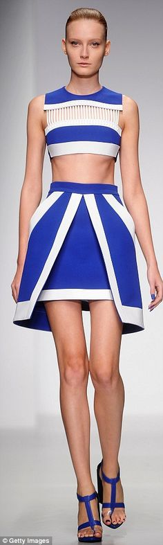 David Koma -A-list lusting: His iconic structured dresses - as loved by Cheryl Cole and Taylor Swift - were graphic and A-line with sharp asymmetric-collared jackets in blue and pink hues