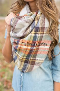 This beautiful and soft plaid blanket scarf is the perfect way to stay warm and… Fall Winter Outfits, Autumn Winter Fashion, Modest Fashion, Fashion Outfits, Casual Outfits, Cute Outfits, Spring Scarves, Plaid Blanket Scarf, Boutique Clothing