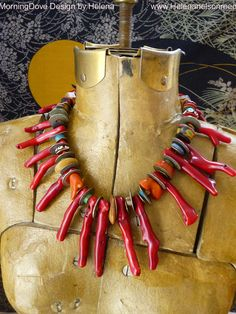 Necklace | Helena Nelson-Reed.  Dyed renewable farmed coral from Asia, combined with old coins, odd vinatge and new ethnic beads.