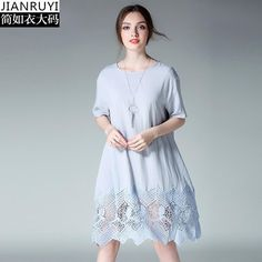 European Casual Cotton and linen Dress Lace Patchwork 2017 Summer Black Pink Blue Women Short Sleeve Loose Dress 4XL Plus Size
