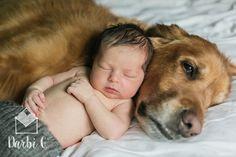 Newborn photo with baby and dog Sleepy baby, golden retriever Kansas City lifestyle newborn photographer
