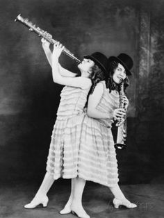 Daisy and Violet Hilton, British Born Conjoined Twins Play Clarinets, 1924.