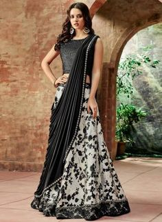 White Printed for Evening Party is Jacquard Silk Lehenga and Velvet and Lycra Having Beautiful Sequins embroidery Work. This Crop Lehenga is Evening Party, Birthday Party wear. Party Wear Lehenga, Party Wear Dresses, Bridal Lehenga, Indian Lehenga, Silk Lehenga, Black Lehenga, Lehenga Blouse, Tie Blouse, Anarkali