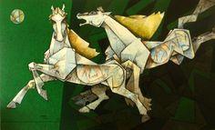 Eikowa-Dinkar-Jadhav-Platful-Stallions #Acrylic on #Canvas #Paintings #Eikowa #Arts #IndianArts #Online EK-0005-AC-0015-36x60