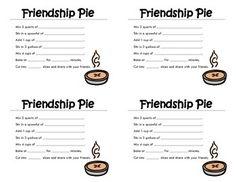 Friendship Pie Recipe Cards