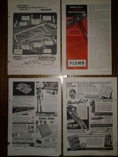 4 Hand Tool Original Print Ads 1947 & 1949 Crescent, Plumb, Vise Grip, Hacksaw