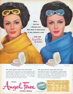 """Description: 1961 POND'S ANGEL FACE vintage magazine advertisement """"change your skin tone"""" -- Now ... you can change your skin tone to look lovely in any costume color ... with new Angel Face by Pond's ... She wears Golden Angel Face with yellow ... She wears Natural Angel Face with blue -- Size: The dimensions of the full-page advertisement are approximately 10.5 inches x 13.5 inches (26.75 cm x 34.25 cm). Condition: This original vintage full-page advertisement is in Excellent Condition…"""