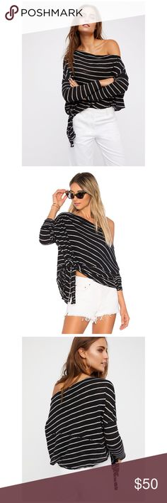 Free People Long Sleeve Tee If you're all about the relaxed and effortless look, the Love Lane Tee is right up your alley. The wide, slouchy neckline slips casually off the shoulder of this striped knit tee with a cool side tie at the waist. 65% poly 30% cotton 5% rayon Hand wash cold Knit fabric Side tie closure 🚫No trades Free People Tops Tees - Long Sleeve