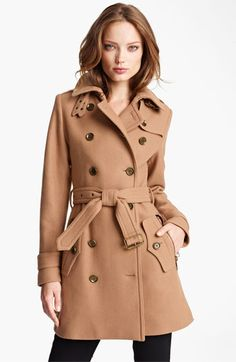 Burberry Brit 'Benthams' Double Breasted Wool Blend Coat