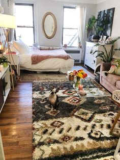 A Studio Goes from Work to Weekend Thanks to a Fold-Down Desk and Fire Escape Nyc Studio Apartments, Studio Apartment Living, Studio Apartment Layout, Studio Apartment Decorating, Studio Living, Apartment Design, Apartment Therapy, Apartment Ideas, Cosy Apartment