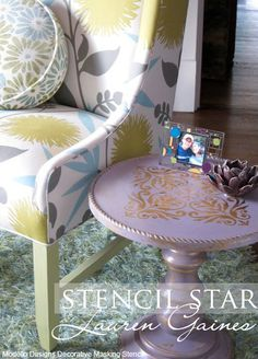 This is a perfect side table painted by North Carolina's @Lauren Gaines with Annie Sloan Chalk Paint™ and a Modello™ Designs Ornamental Tile vinyl stencil (OrnTil157). www.ModelloDesigns.com
