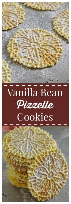 Vanilla Bean Pizzelle Cookies – A crisp Italian cookie made in a pizzelle press with a gorgeous design. An elegant treat perfect for a Christmas cookie exchange! #FreakyFriday #Christmas #cookie #pizzelle #italian #holiday