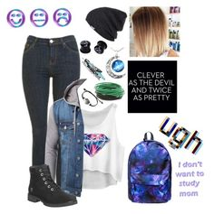 """""""First Day of School"""" by skatergurl58 ❤ liked on Polyvore featuring Topshop, Timberland and Neff"""