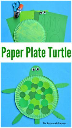 Paper Plate Turtle Craft Paper Plate Turtle Craft Kinder Stuff Crafts For Kids Turtle Paper Plate Art, Paper Plate Crafts For Kids, Paper Plates, Craft Kids, Beach Crafts For Kids, Green Crafts For Kids, T Craft, Children Crafts, Paper Plate Crafts