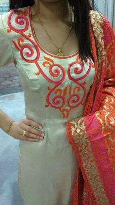 30 Trendy Embroidery Designs for neck to inspire you - Wedandbeyond Embroidery Suits Punjabi, Embroidery On Kurtis, Hand Embroidery Dress, Kurti Embroidery Design, Embroidery Neck Designs, Simple Embroidery, Embroidery Kits, Embroidery Stitches, Machine Embroidery