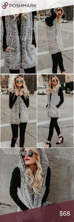 MUST HAVE Sherpa Faux Fur Fuzzy Soft Hooded Vest Uber soft and a MUST HAVE wardrobe piece! Charcoal grey Sherpa faux fuzzy fur vest, sleeveless jacket, coat.   Incredibly cozy, hooded, 2 front pockets, fully lined.   Fabric -100% polyester platinum mermaid Jackets & Coats Vests